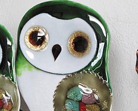 ハンドメイド七宝時計「2羽のふくろう掛け時計(緑)」