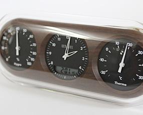 木調、電波3連温湿度置き時計 (ID-LCR034-DW)