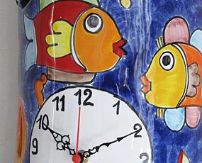 イタリア製、彩色陶器の振り子時計「フィッシュ」 (PRC-81-3fish)