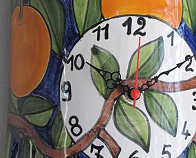イタリア製、彩色陶器の振り子時計「オレンジ」 (PRC-81-3ora)