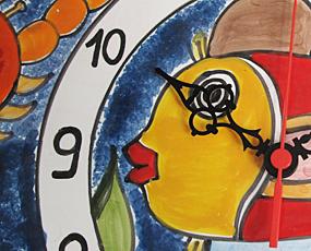 イタリア製、彩色陶器の時計「フィッシュ」 (PRC-81DEfish)