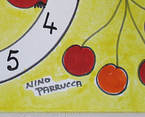 イタリア製、彩色陶器の時計「フルーツ」 (PRC-81DEfru)