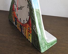 イタリア製、彩色陶器の時計「丘の上の館」 (PRC-81P)