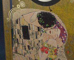Goebel(ゲーベル)ガラスアートクロック「クリムトのザ・キス」