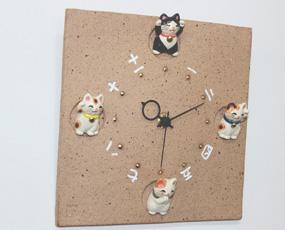 掛け時計 子猫 日本製 陶器 アナログ 福々招き猫 風水 掛時計 (CY-Y9772)