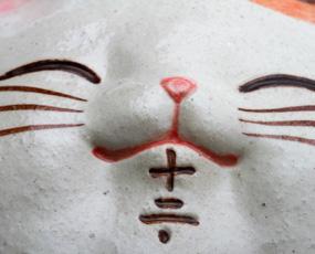 振り子時計 アナログ 招き猫 掛け時計 陶器 日本製 和室 掛時計 (CY-Y9811)