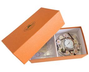 置き時計 ドイツ製 花のガラス時計 ギフト 贈り物 CDD7267 イエロー (IK-CDD7267)
