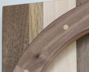 掛け時計 木製 天然木  ナラ リビング ハンドメイド 寄せ木時計 モザイク輪と角 (PM-0450000MX)