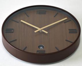 掛け時計 木製 おしゃれ リビング モダン カレンダー 日付 TELR1840BR (SP-1840BR)
