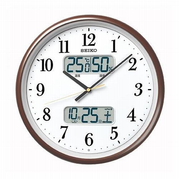 SEIKO セイコー 掛け時計 置き時計 温度・湿度とカレンダーはデジタルで、時刻はアナログで。