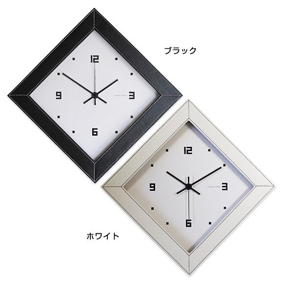 レザークロック ひし形・電波時計 (V-060)