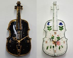 日本製、バイオリン掛け時計。オブジェ、贈り物としても最適