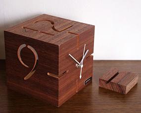 木製立体時計「パズル」09−106ウォルナット