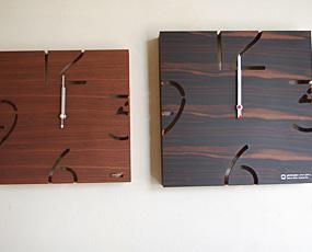 電波木製時計「パズル」YC10-102黒檀(こくたん)