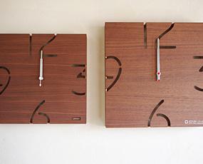 電波木製時計「パズル」YC10-102ウォールナット