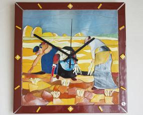 Sebino Arte ベネチアンガラス時計「ミレーの落穂ひろい」 (YM-AR05-35R)