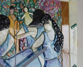 Sebino Arte ベネチアンガラス時計「ドガのバレリーナ」 (YM-AR17-34R)